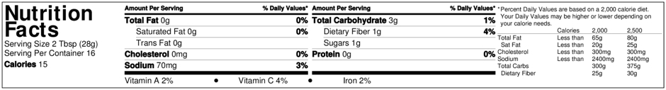 Zydeco Red Bean Salsa Nutrition Facts